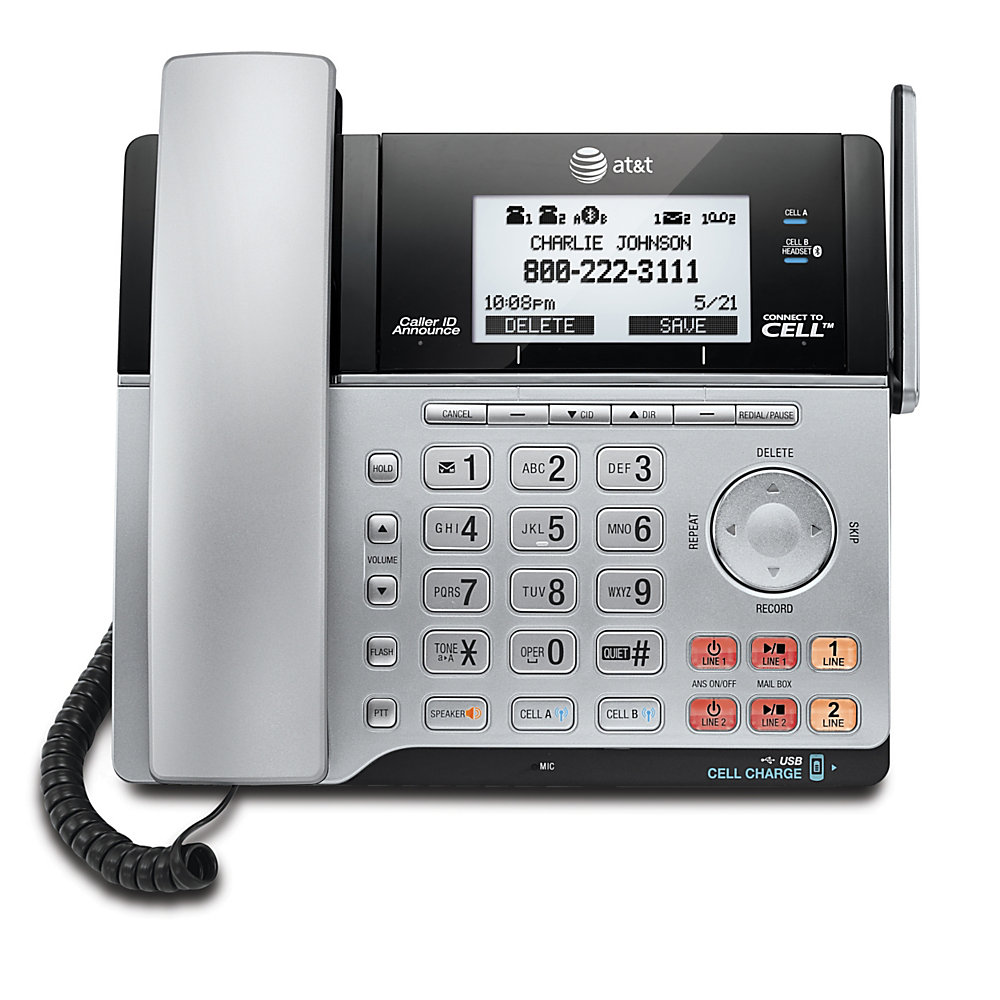 Stay in touch with colleagues and clients using this AT&T 2-line corded/cordless phone system. The phone system with Bluetooth connect-to-cell capability makes it easy to use your compatible smartphone to make calls over your wired network.  Expandable phone system includes a corded base with digital answering system and 1 cordless handset and charger. System can be expanded up to 12 handsets (uses TL86003 handsets, not included). Also compatible with TL7600 cordless headsets and TL80133 cordless speakerphones (sold separately).  DECT 6.0 2-line corded/cordless phone system utilizes digital technology for interference-free calls with clear sound.  Digital answering system includes a mailbox for each line.  Backlit handset keypad and display are easy to read.  Dual caller ID/call waiting displays the name and number of incoming calls and remembers up to 50 callers for convenient callback. Caller ID Announce reads aloud the name of the incoming caller. Call Waiting/Caller ID service required from your local telephone company.  Features multiple phone lines with virtual multi-line operation.  Handset and base speakerphones let you communicate hands free.  Connect-to-Cell lets you connect to Bluetooth-enabled cell phones to make and receive calls. Features 2 built-in USB docks to charge your mobile devices.  Store up to 6,000 directories from up to 4 different cell phones.  AT&T Softphone Call Manager combines online calls with your business phone system. Access Microsoft� Lync, Skype, VoIP and landline telephone services in a single system.
