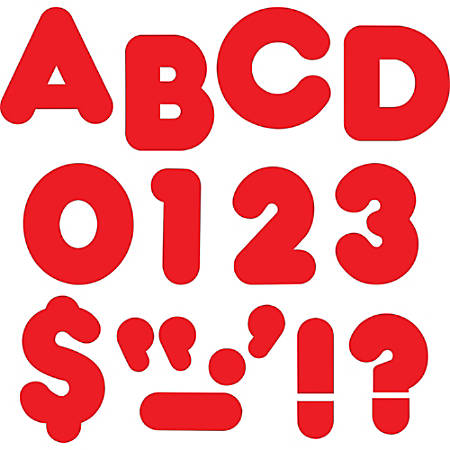 """Trend Reusable 2"""" Ready Alphabet Letters Set - 100, 20 (Capital Letter, Punctuation Marks) Shape - Precut - 2"""" Height - Red - Paper - 1 Pack"""
