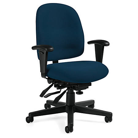"Global® Granada® Low-Back Multi-Tilter Chair, 40""H x 26""W x 22 1/2""D, Black Frame, Navy Fabric"