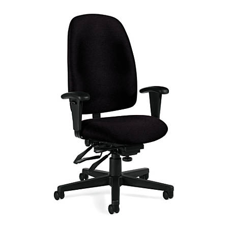"Global® Granada® High-Back Multi-Tilter Chair, 43""H x 26""W x 23""D, Black Frame, Black Fabric"