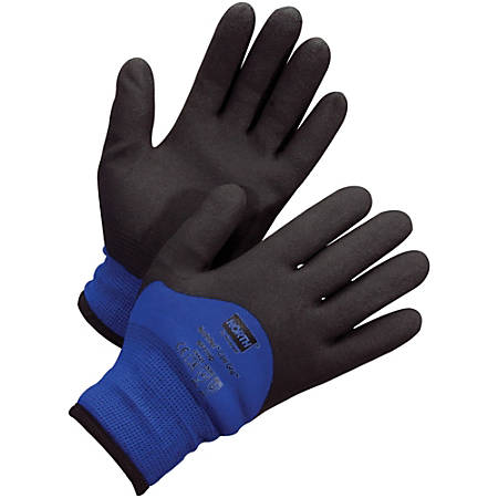 NORTH Northflex Coated Cold Grip Gloves - Weather Protection - Medium Size - Nylon Shell, Polyvinyl Chloride (PVC) Palm, Polyamide, Synthetic Liner, Foam - Blue, Black - Heavyweight, Insulated, Flexible, Shock Absorbing, Vibration Resistant, Liquid Proof