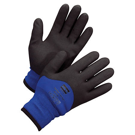 NORTH Northflex Cold Gloves - Coated - Weather Protection - Medium Size - Nylon Shell, Polyvinyl Chloride (PVC) Palm, Polyamide, Synthetic Liner, Foam - Red - Heavyweight, Insulated, Flexible, Shock Absorbing, Vibration Resistant, Liquid Proof, Firm
