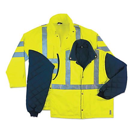 Ergodyne GloWear 8385 4-In-1 Polyester Thermal Jacket, X-Large, Lime, Case Of 12