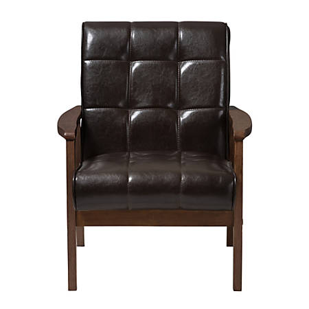 Baxton Studio Levin Faux Leather Club Chair, Brown