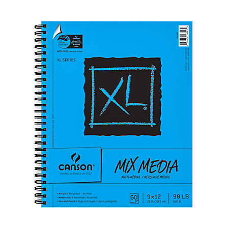 "Canson XL Mix Media Pads, 9"" x 12"", 60 Sheets, Pack Of 2"