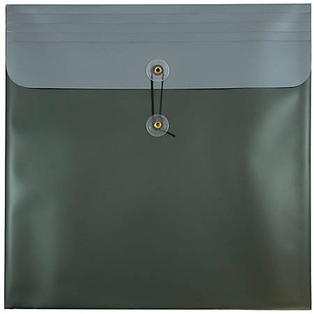 """JAM Paper® Plastic Poly Envelopes With Button And String Closure, 13"""" x 13"""", Metallic Dark Green, Pack Of 12"""