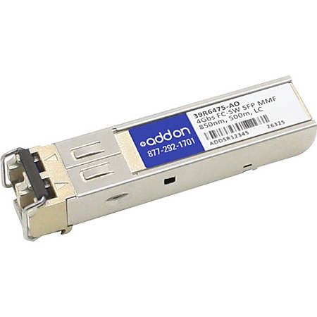 AddOn IBM 39R6475 Compatible TAA Compliant 4Gbs Fibre Channel SW SFP Transceiver (MMF, 850nm, 500m, LC) - 100% compatible and guaranteed to work