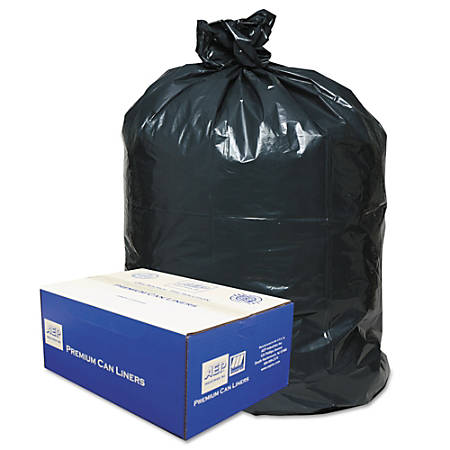 """Classic 2-Ply 0.63-mil Low-Density Trash Can Liners, 40 - 45 Gallons, 46"""" x 40"""", Black, Pack Of 250 Liners"""