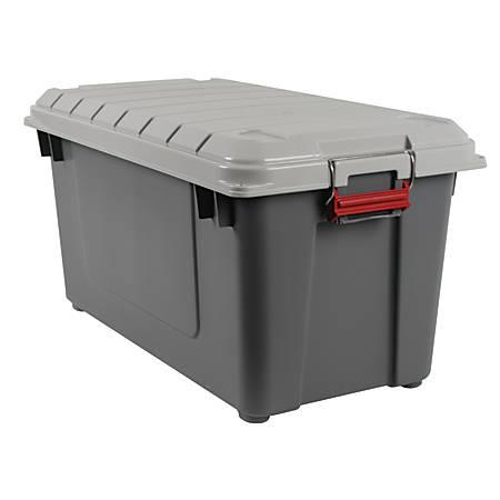 Office Depot® Brand Plastic Storage Trunk, 87 Qt, Gray/Red