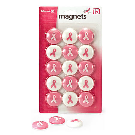 """OIC® Breast Cancer Awareness Magnets, 1 1/4"""", Pink, Pack Of 15"""