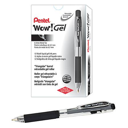 Pentel® Wow!™ Retractable Gel Roller Pens, Medium Point, 0.7 mm, Clear Barrel, Black Ink, Pack Of 12