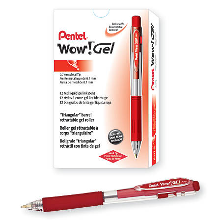 Pentel® Wow!™ Retractable Gel Roller Pens, Medium Point, 0.7 mm, Clear Barrel, Red Ink, Pack Of 12