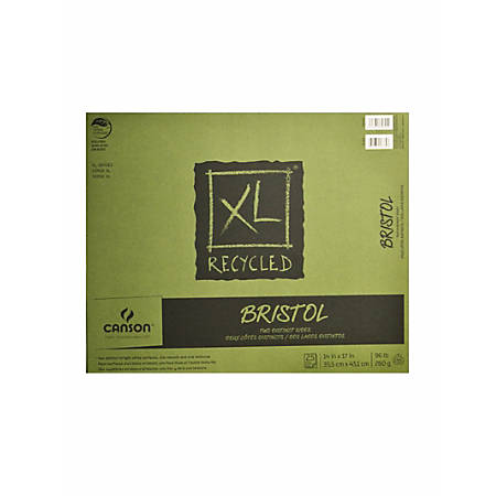 """Canson XL Recycled Bristol Pad, 14"""" x 17"""", Fold-Over, Pad Of 25 Sheets"""
