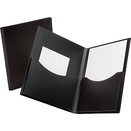 "Oxford® Double Stuff Poly Twin-Pocket Folders, 8 1/2"" x 11"", Black"