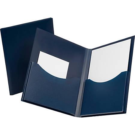 "Oxford® Double Stuff Poly Twin-Pocket Folders, 8 1/2"" x 11"", Navy"