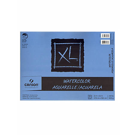 "Canson XL Watercolor Pads, 11"" x 15"", 30 Sheets Per Pad, Pack Of 2 Pads"