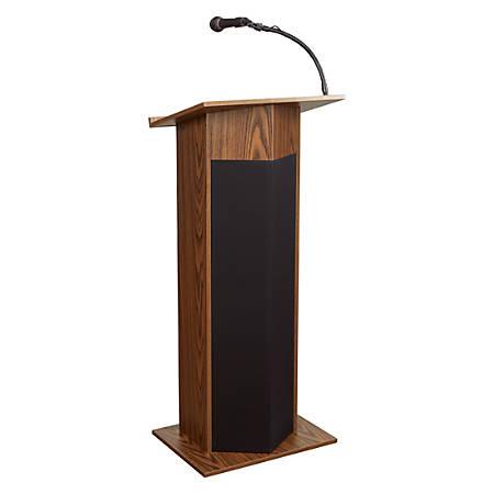 Oklahoma Sound® The Power Plus Lectern With Wireless Tie Clip/Lavalier Microphone, Medium Oak