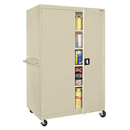 "Sandusky® Jumbo Mobile Steel Storage Cabinet, 78""H x 46""W x 24""D, Putty"