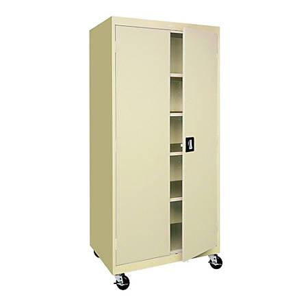 "Sandusky® Mobile Steel Storage Cabinet, 78""H x 36""W x 24""D, Putty"