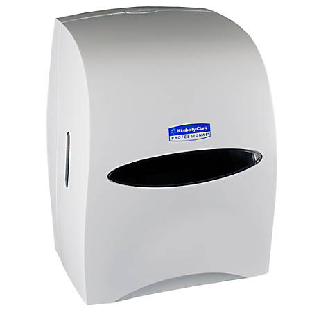 "Kimberly-Clark® Sanitouch Wall-Mount Hard Roll Towel Dispenser, 16 1/8"" x 12 5/8"" x 10 1/4"", White"