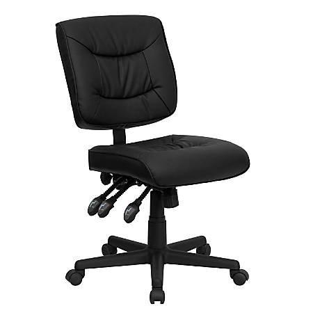 Flash Furniture Leather Low-Back Multifunctional Swivel Task Chair, Black