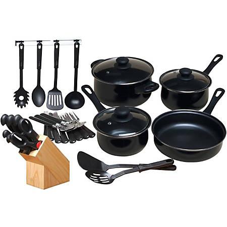 """Gibson Home Kitchen 32 Piece Chef Du Jour Cookware Set, Black - 3.3 quart Dutch Oven, 1.8 quart Saucepan, 1.3 quart Saucepan, 8.62"""" Diameter Frying Pan, Fork, Knife, Teaspoon, Serving Spoon, Slotted Spoon, Spatula, Slotted Spatula"""