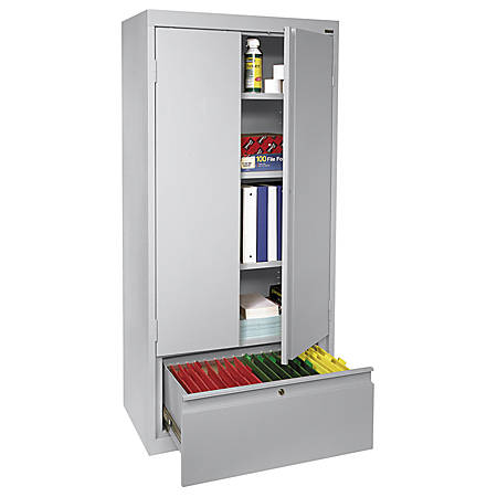 "Sandusky® Full-Height Steel Storage Cabinet With Drawer, 64""H x 30""W x 18""D, Dove Gray"