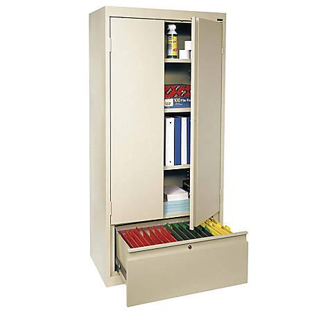 "Sandusky® Full-Height Steel Storage Cabinet With Drawer, 64""H x 30""W x 18""D, Putty"