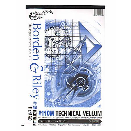 "Borden & Riley #110M Technical Vellum, 11"" x 17"", Bright White, Pad Of 50 Sheets"