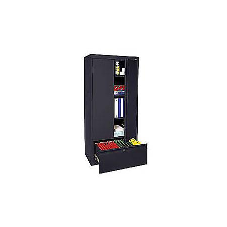 "Sandusky® Full-Height Steel Storage Cabinet With Drawer, 64""H x 30""W x 18""D, Black"