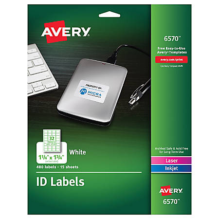 "Avery® Multipurpose ID Labels, 6570, Rectangular, 1 1/4"" x 1 3/4"", White, Pack of 480"