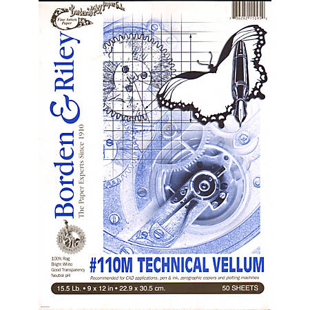 """Borden & Riley #110M Technical Vellum, 9"""" x 12"""", Bright White, Pad Of 50 Sheets, Pack Of 2"""