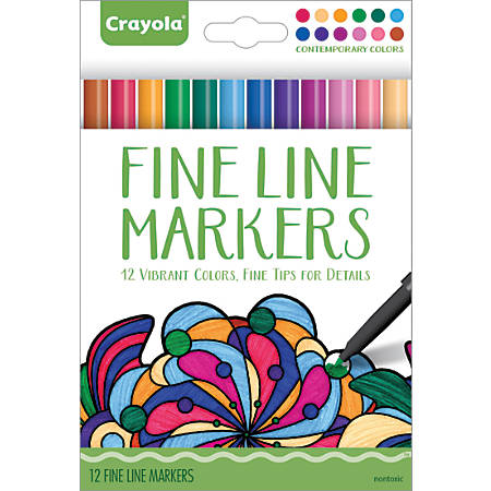 Crayola® Fine Line Markers For Adults, Assorted Contemporary Colors, Pack Of 12