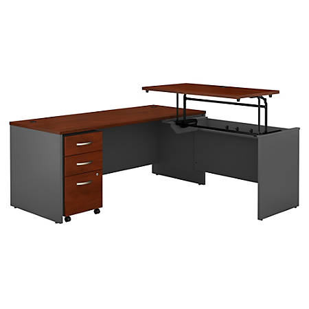 """Bush Business Furniture Components 72""""W 3 Position Sit to Stand L Shaped Desk with Mobile File Cabinet, Hansen Cherry/Graphite Gray, Standard Delivery"""