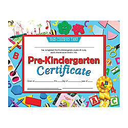 Hayes Publishing Certificates Pre Kindergarten 8