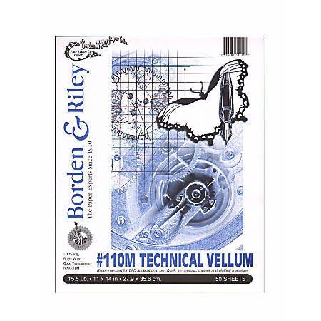 "Borden & Riley #110M Technical Vellum, 11"" x 14"", Bright White, Pad Of 50 Sheets, Pack Of 2"