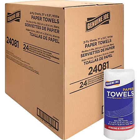 """Genuine Joe 2-ply Household Roll Paper Towels - 2 Ply - 8.80"""" x 11"""" - 100 Sheets/Roll - White - Perforated, Easy Tear - For Kitchen, Multipurpose - 24 / Carton"""