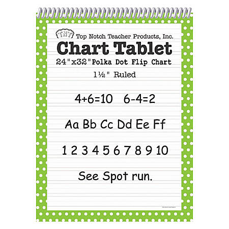 "Top Notch® Polka Dot Chart Tablets, 24"" x 32"", 1 1/2"" Ruled, Green, Pack Of 2"