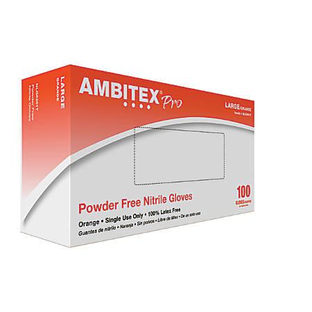 Ambitex® High-Visibility Nitrile Gloves, Large, Orange, Box Of 100