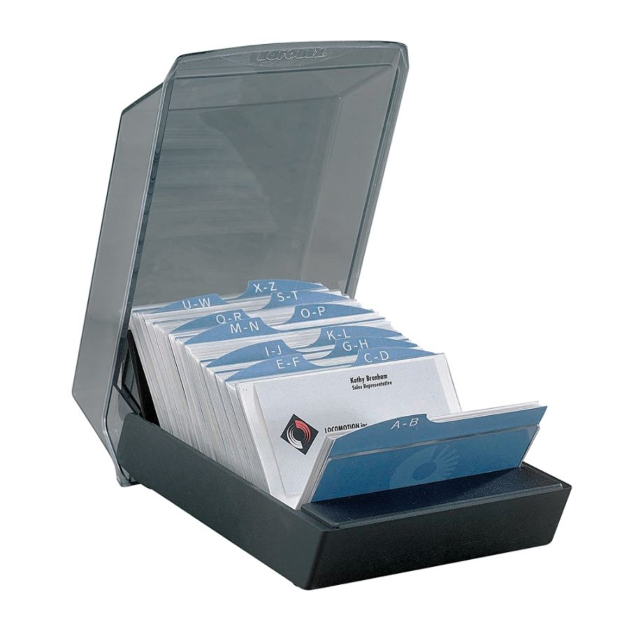 Rolodex Covered Business Card File 200 Card Capacity Black by