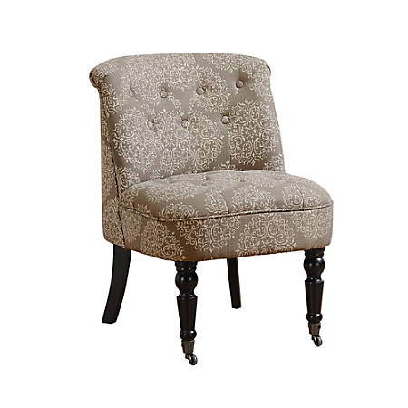 Monarch Specialties Traditional Slipper Accent Chair, Taupe Snowflake/Black