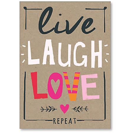 """Viabella Birthday Greeting Card With Envelope, Live Laugh Love, 5"""" x 7"""""""