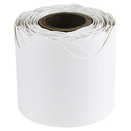 "Carson-Dellosa Plain Continuous-roll Scalloped Border - (Scalloped Border) Shape - 2.25"" Width x 432"" Length - White - 1 Roll"