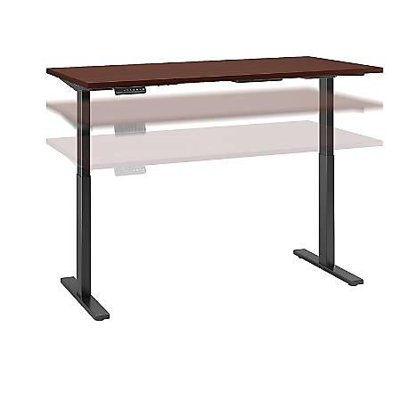 "Bush Business Furniture Move 60 Series 72""W x 30""D Height Adjustable Standing Desk, Harvest Cherry/Black Base, Premium Installation"