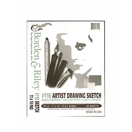 """Borden & Riley #116 Artist Drawing/Sketch Vellum Pads, 11"""" x 14"""", 40 Sheets Per Pad, Pack Of 2 Pads"""