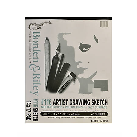 "Borden & Riley #116 Artist Drawing/Sketch Vellum Pads, 14"" x 17"", 40 Sheets Per Pad, Pack Of 2 Pads"