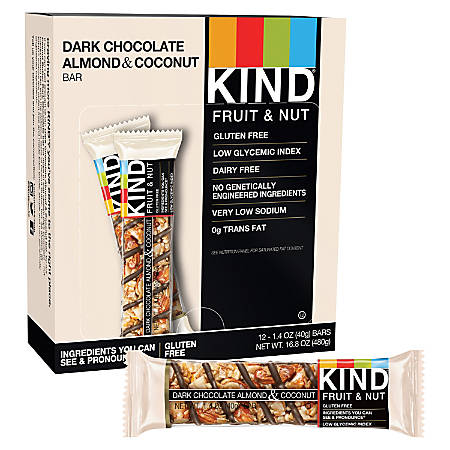 KIND Fruit And Nut Dark Chocolate, Almond And Coconut Bars, 1.6 Oz, Box Of 12