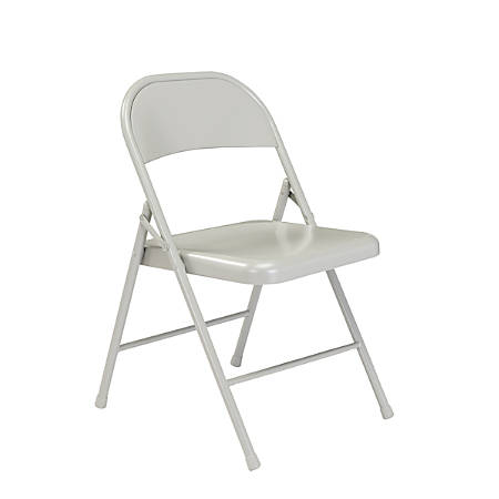 National Public Seating Commercialine Folding Chairs, Gray, Set Of 4 Chairs