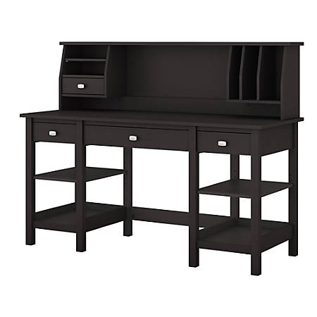 "Bush Furniture Broadview 60""W Desk With Storage Shelves And Small Hutch Organizer, Espresso Oak, Standard Delivery"