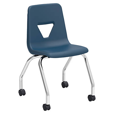 "Lorell® Classroom Mobile Chairs, 18""H Seat, Navy/Chrome, Set Of 2"